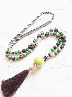 Green necklace, Grey necklace, Silk tassel necklace, Jasper necklace, Hematite necklace, Crystal necklace, Rope necklace, Girlfriend gift by GentleColorsJewelry on Etsy