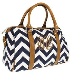 Monogrammed Chevron Satchel Bag by tinytulip on Etsy. Navy and white striped with initials in interlocking script with tan thread.