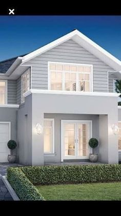 Grey render, white trims, white roller door hamptons house, hamptons style homes, House Exterior Color Schemes, Exterior Paint Colors For House, Exterior Colors, Grey Homes Exterior, Grey House Paint, Weatherboard Exterior, Exterior Cladding, House Cladding, Facade House