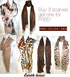 Scarves - great earth tones. Buy 3 get one for FREE!
