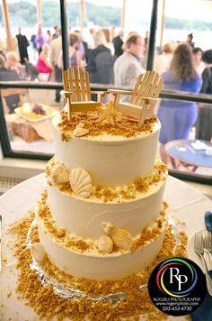 Beach wedding cake.  #weddingcake #ctwedding #weddingfood #weddingreception #cutthecake #ctweddingphotographer #rogersphotography www.RogersPhoto.com
