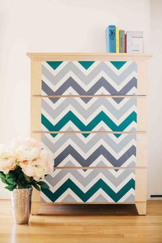 Look at this chasing PAPER Gray & Green Chevron Wallpaper on today! Studio Apartment Decorating, Apartment Ideas, Wallpaper Furniture, Desk With Drawers, Dresser Drawers, Dressers, Green Chevron, Weathered Wood, Peel And Stick Wallpaper