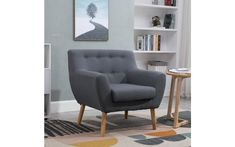 Colour: Grey Style: Scandinavian Cover Material: Linen fabric Frame and Leg Material: Solid oak Sofa Overall Dimension: x x Some home assembly required (legs screw on) Wood Arm Chair, Wood Sofa, Tub Chair, Retro Armchair, Grey Armchair, Fabric Armchairs, Framed Fabric, Single Sofa, Scandinavian Furniture