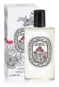 Dyptique-geranium. bright, fresh very green scent--that gorgeous forest-y geranium scent (sort of like tomato vine). also cedar wood, peppercorn, musk, sweet flowers