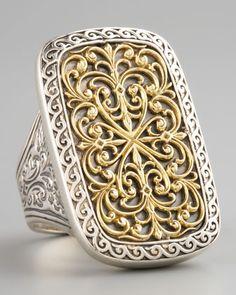 Rectangle Filigree Ring by Konstantino