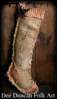 Image detail for -. PatternMart: Americana Colonial Old Colony Christmas Stocking Primitive Christmas Crafts, Burlap Christmas, Merry Little Christmas, Christmas Love, Country Christmas, Christmas Projects, Winter Christmas, Holiday Crafts, Vintage Christmas