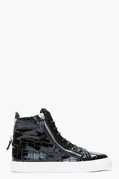 Giuseppe Zanotti Black Patent Leather Croc-embossed London Sneakers for women | SSENSE