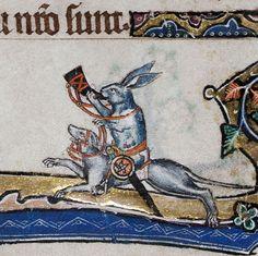 a medieval Hare riding a dog & blowing a horn. Medieval Drawings, Medieval Art, Medieval Times, Medieval Manuscript, Illuminated Manuscript, Evil Bunny, Doodles, Rabbit Art, Bizarre
