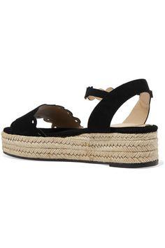 Castañer - Ana Scalloped Suede Espadrille Platform Sandals - Black - IT35