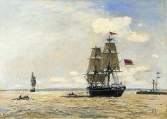 Johan Barthold Jongkind - Norwegian Naval Ship Leaving the Port of Honfleur
