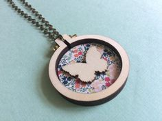 Butterfly mini embroidery hoop necklace by Suosaari on Etsy