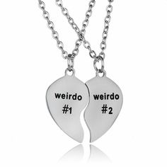 cfd7439ea Stainless Steel Weirdo #1 and Weirdo #2 Necklace His Hers Best Friend Couple  BFF