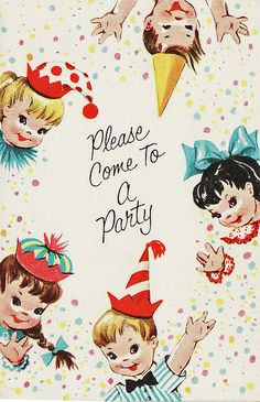 Digital Images Vintage Childrens Birthday Party Invitations -For Sale on Etsy Vintage Party, Vintage Birthday Cards, Vintage Greeting Cards, Vintage Postcards, Vintage Images, Retro Images, Happy Birthday 1, Birthday Wishes, Retro Birthday