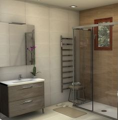 Diseño de baño con cerámica de Saloni (serie Abalon Roble | Síntesis Blanco Mate) Vanity, Bathroom, Design, Oak Tree, Apartment Bathroom Design, White People, Home, Dressing Tables, Washroom