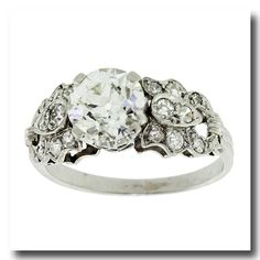Inv. #16026 Art Deco 1930s platinum engagement ring. So pretty. Maybe an addition to my collection....