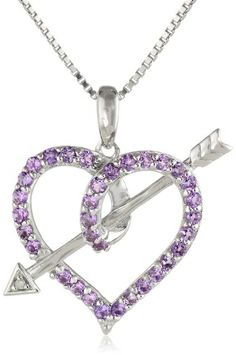 Women's Fashion Jewelry: Diamonds and Gemstones: Sterling Silver Purple Amethyst And Diamond-Accented Love's Arrow Heart Shaped Pendant Necklace, 18: Pendants and Necklaces