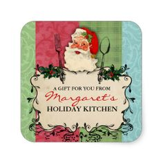 Vintage Santa Christmas holiday food gift label Square Stickers