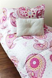 "Wild Pink Paisley Comforter Set Twin Xl by Dorm Co. $59.99. ?Bright College Pink with Lime Green Accents. ?300 Gram Fill Weight - THICK & COZY. ?High Quality 100% Cotton Twin XL Comforter/Sham. Comforter is 68"" X 88"". Our Wild Pink Paisley Comforter Set Twin XL is as fun and playful as dorm bedding can get! The classic paisley design is done with a modern twist. The added funkiness of this college comforter uses an eye-catching pink mixed with accents of lime green. Making ..."