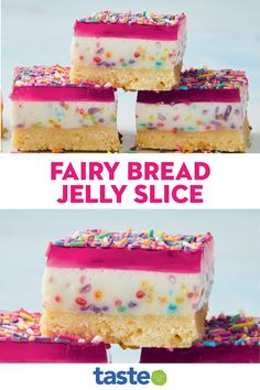 No Cook Desserts, Delicious Desserts, Dessert Recipes, Yummy Food, Jelly Slice, Yummy Things To Bake, No Bake Slices, Fairy Bread, Sweet Treats
