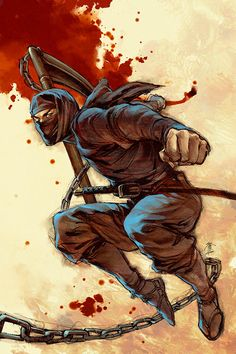 A ninja attack with his kusarigama weapon. Sudden death to his enemy! Ninja Kunst, Arte Ninja, Ninja Art, Ninja Warrior, Samurai Warrior, Guerrero Ninja, Samurai Artwork, Ninja Gaiden, Ninja Weapons