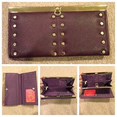 NWOT purple studded wallet Purple leather material with gold accents. 12 card slots, coin compartment, slots for money. It's never been used. Perfect to use as a wallet if you prefer carrying a large bag or on its own to carry just the essentials. No PayPal. No trades. Reasonable offers welcome. Mix no6 Bags Wallets