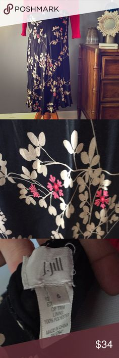 J. Jill Beatiful Silky Skirt Black and flowered Beautiful black skirt with champagne leaves and red and pink flowered pattern. This stunner is in excellent, gently-loved condition. Smoke free home. J. Jill Skirts