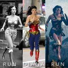 which Wonder woman is your favorite<<<Gal Gadot Captain Marvel, Marvel Vs, Marvel Dc Comics, Captain America, Lynda Carter, Spiderman, Batman Vs Superman, 22 Jump Street, Wonder Woman Pictures