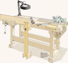 Top 5 Workbench Upgrades Top 5 Bench Upgrades: Make your workbench even more useful with these easy-to-build, shop-made upgrades. Workbench Designs, Workbench Plans, Woodworking Workbench, Woodworking Workshop, Woodworking Shop, Craftsman Workbench, Garage Workbench, Easy Woodworking Ideas, Woodworking Projects