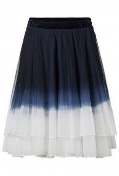 Vrouwelijke speelse rok met tie dye effect Donker blauw