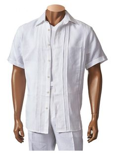 Men's Linen Short Sleeve Fashion Shirt by Merc/InSerch - White  Perfect for Summer ALL WHITE parties and Beach Weddings. Shop now at www.fashionmenswear.com   #Linen  #Mensfashion  #Summer
