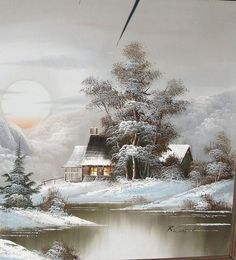 "The original embroidery scheme ""Zima"" - Art Painting Winter Szenen, Winter Painting, Pintura Country, Snow Scenes, Winter Pictures, Winter Beauty, Winter Landscape, Painting & Drawing, Landscape Paintings"