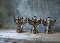 Kerzenständer versilbert Angel: Satz von drei alte von Untried