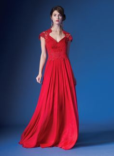 Corded Embroidery on Tulle Bodice Queen Ann Cap Sleeve Gown in Flame | Tadashi Shoji