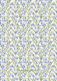 Spring Floral Fabric, Lewis & Irene Bluebell Wood A127 1, Bluebell Fabric, Floral Quilt Fabric, Garden Fabric, Cotton Flower Fabric