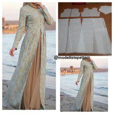Modern gamis pattern 2 piece skirt Order by line : (with Long Dress Patterns, Skirt Patterns Sewing, Blouse Patterns, Clothing Patterns, Kaftan Pattern, Gown Pattern, Abaya Fashion, Fashion Dresses, Estilo Abaya