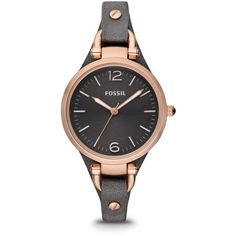 Fossil Georgia Smoke Leather Watch ($125) ❤ liked on Polyvore featuring jewelry, watches, accessories, leather jewelry, leather wrist watch, gray watches, grey jewelry and fossil wrist watch