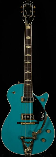 This terrific Taos Turquoise '57 Duo Jet is quite inspiring! This gives the player quite an extensive palette to work with! Let's start by talking about the front end of the note. The aged gold Bigsby on this serial gives the attack a growling quality when you play hard and a purring quality when you lighten up with your right hand. | eBay!