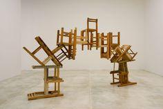 Random Days - front-desk: Puente, Damián Ortega at Inhotim. Damian Ortega, Hirst, Take A Seat, Front Desk, Drafting Desk, Installation Art, Sculptures, Ceiling Lights, Chair