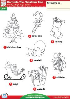 """Decorate The Christmas Tree"" Christmas Vocabulary Coloring Worksheet from Super Simple Learning. #preK #kindergarten #ESL"