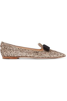Jimmy Choo - Gala Glittered Leather Point-toe Flats - Gold - IT36.5