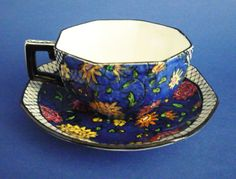 Royal Doulton 'Persian Anemone' Series Art Deco Octagon Cup and Saucer c1920