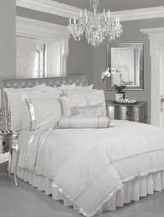 This silver and white bedroom looks like something you dream of as a child . . . fairytale fantasy . . . | repinned by PeachSkinSheets.com