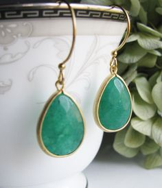 Peacock Green Jade Earrings with Gold by RebekahsJewelryBox. $25.50, via Etsy.