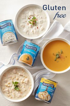 Discover our quality canned food at Progresso. From delicious Soup to broth, bread crumbs and beans, we have a fantastic selection to choose from. Carrot Recipes, Cake Recipes, Gluten Free Soup, Clam Chowder, Chicken Flavors, Bread Crumbs, Butternut Squash, Soups, Bacon