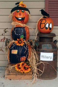 Pumpkin scarecrow, to cute!