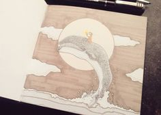 Ylenia Marino - #RidingWhalesDay 015 - illustration - whales - www.massoneriacreatica.com