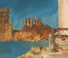 "thunderstruck9: "" Sidney Nolan (Australian, 1917-1992), Temple, 1956. Oil on paper on board, 25.5 x 30.5 cm. """