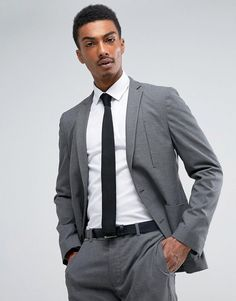 ASOS Skinny Travel Suit Jacket in Charcoal Texture - Gray Abiti  Professionali 5add0147282