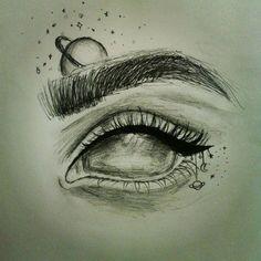 Galaxy Eye drawing by Tiff Y Cool Eye Drawings, Galaxy Drawings, Space Drawings, Dark Art Drawings, Pencil Art Drawings, Art Drawings Sketches, Easy Drawings, Cool Drawings Tumblr, Drawing Eyes