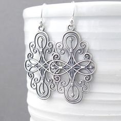 Silver Filigree Earrings Long Silver Earrings by JenniferCasady
